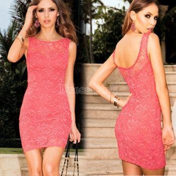 mmmmmm? $7.33 Women's Fashion Elegant Sexy Bodycon Sleeveless Back Open Lace Dress Women Club Dresses