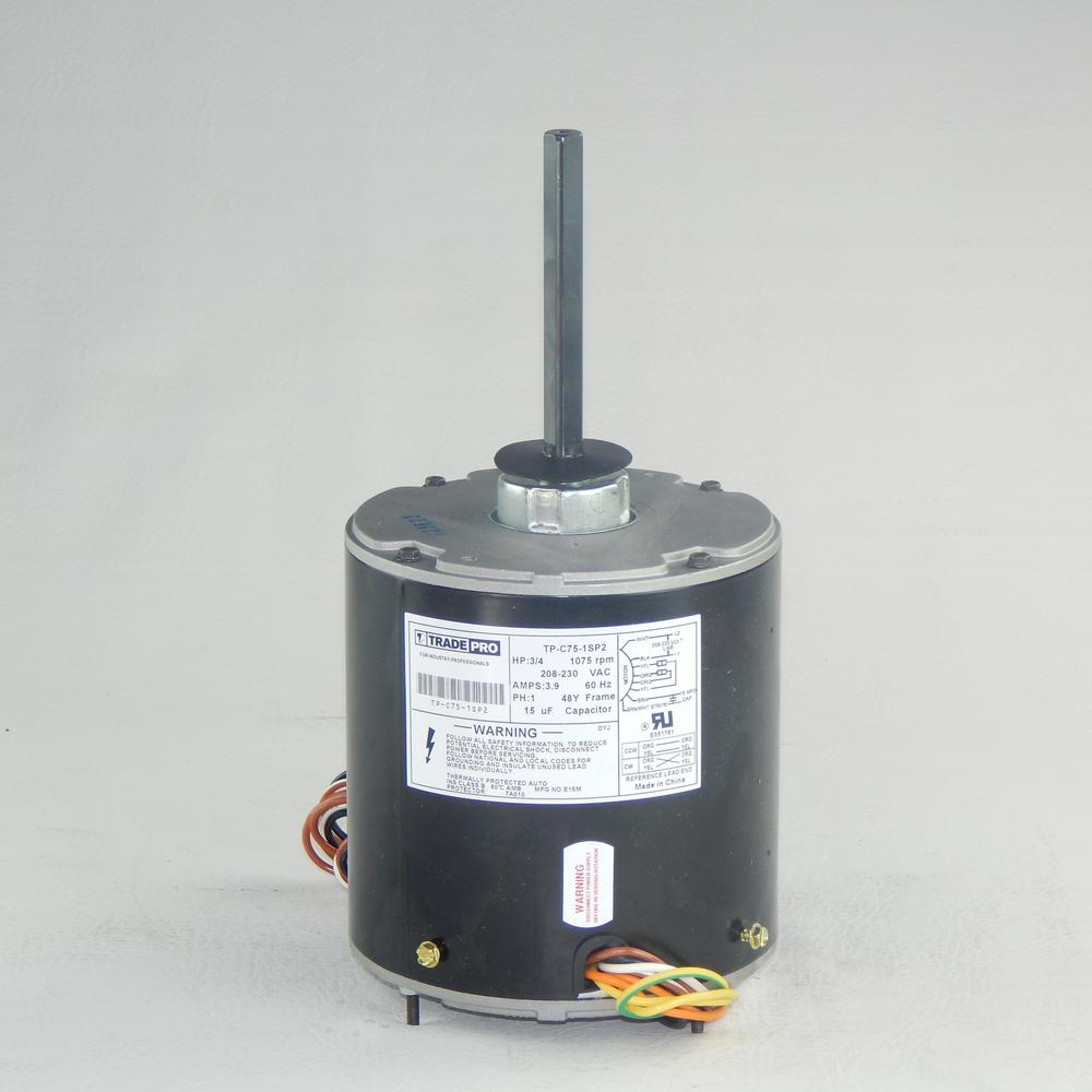 Replacement Condenser Fan Motor 3/4 HP Single Speed 1075 RPM