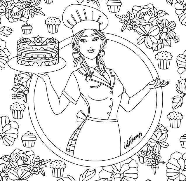 cake coloring pages for adults - chef cook cake coloring page coloring pages for adults
