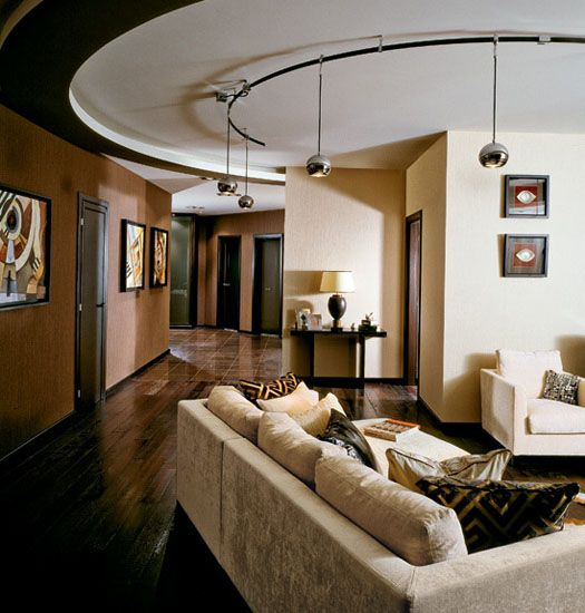 Modern Art Deco Interiors In Cream And Brown Colors