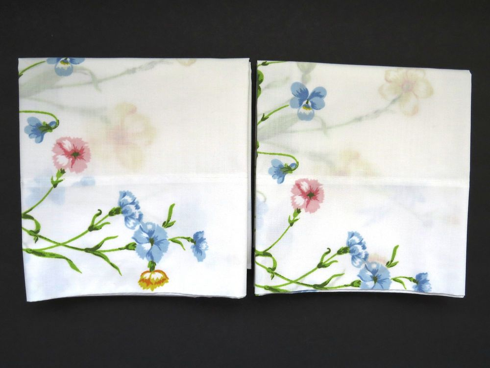 Violets Daffodils Carnations Vintage PAIR Standard Pillowcases Shabby n Chic Vintage Bedding ...