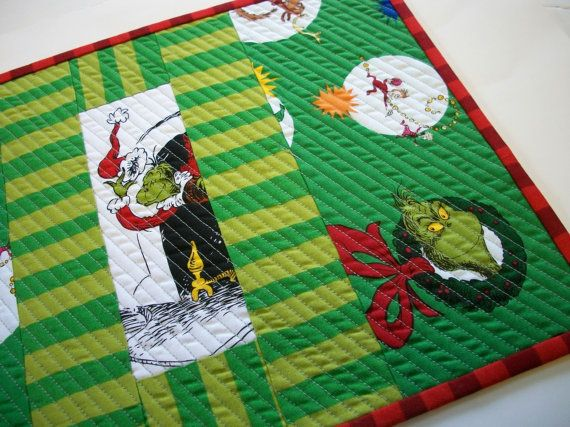 Grinch Placemat Snack Mat Mug Rug Dr Seuss Christmas Reversible