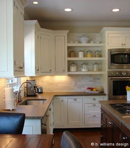 Mesada de granito muebles blancos y madera cocinas - Muebles de cocina blancos ...
