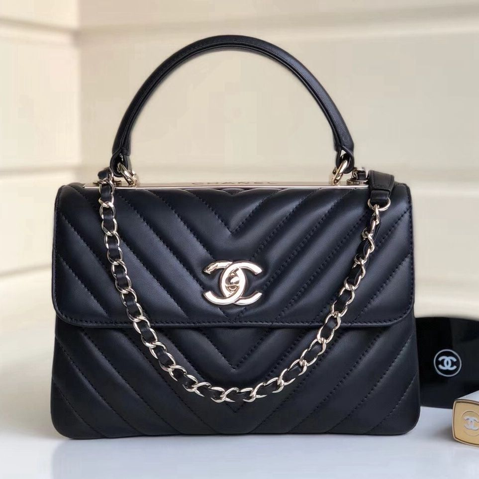 Chanel Chevron Small Trendy CC Flap Bag With Top Handle A92236 Black  2018(Gold-tone Hardware) 6759143fdff91
