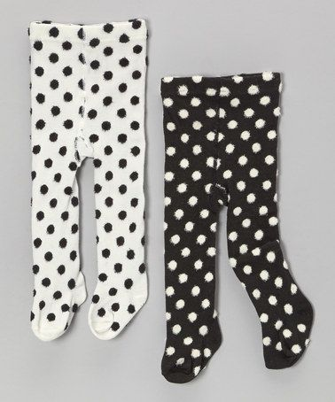 ef173d209 Take a look at this White & Black Polka Dots Footed Leggings Set - Infant &  Toddler by Mud Pie on #zulily today!