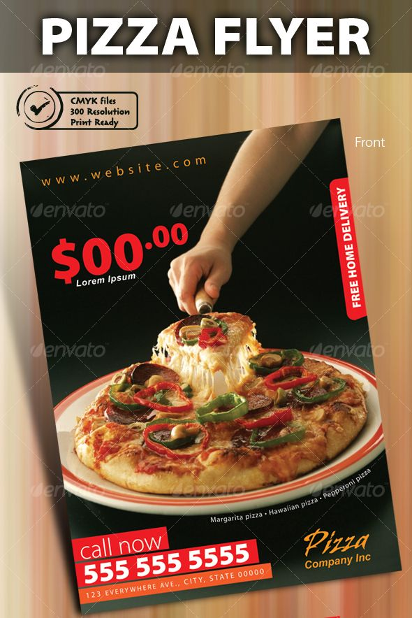 Print Ready Pizza Menu Flyer  Posters    Pizza Menu