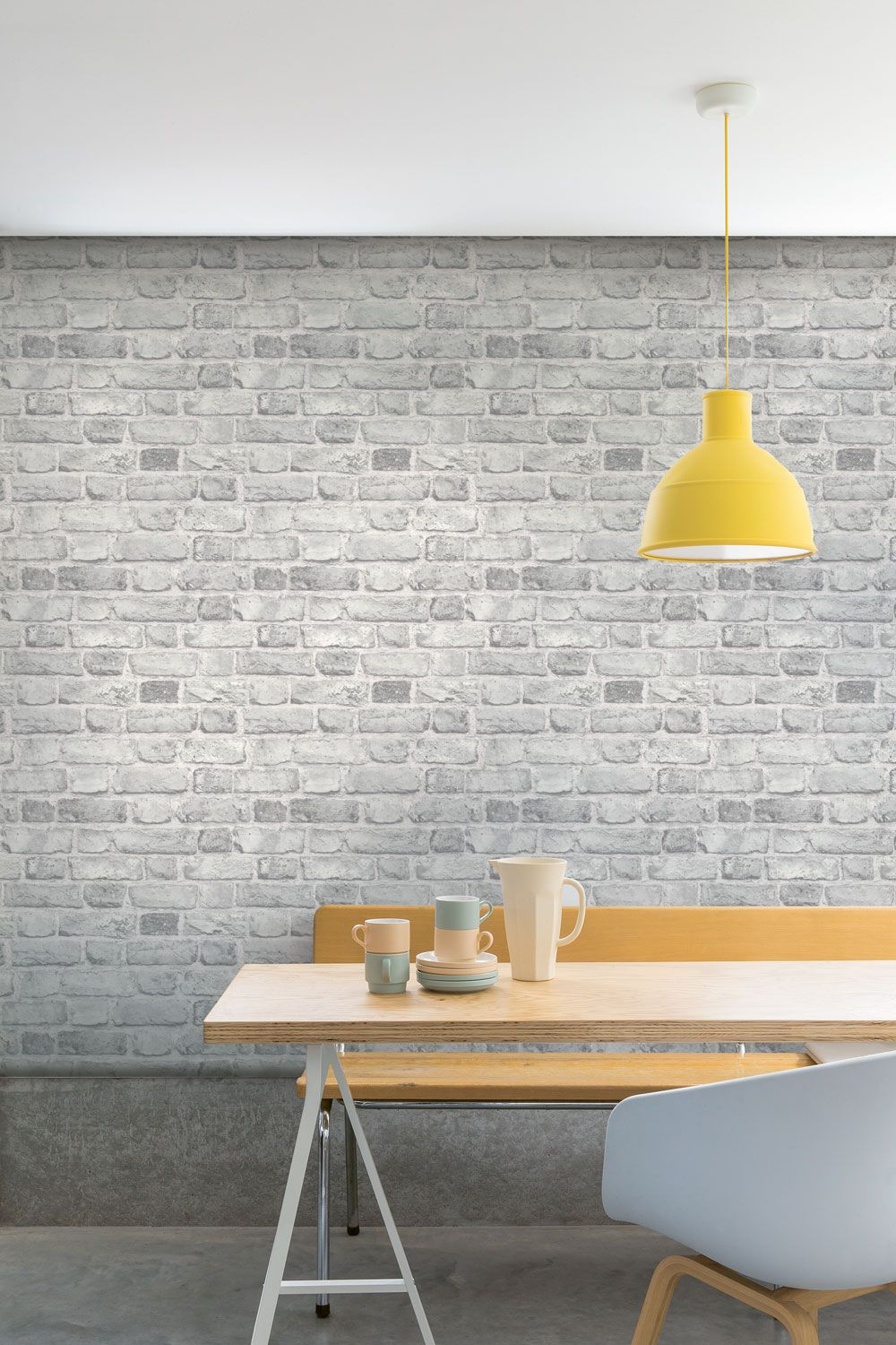 Vintage Brick by Albany White Wallpaper A28903
