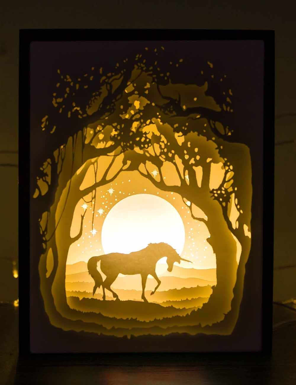 Papercut Light Boxes Unicorn 3d Paper Art Shadow Box