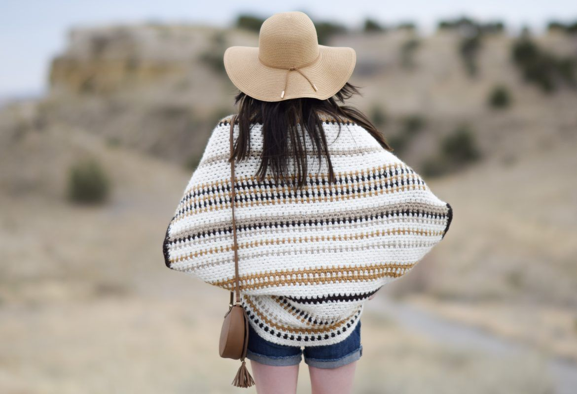 Baja Blanket Sweater Crochet Pattern #blanketsweater I'm so happy to that my new 'Baja Blanket Sweater' is finished and I can share it with you today!  As you may already know, I've made quite a few different types of these blanket sweaters.  It all started when I wanted a cocoon 'blanket like' sweater with buttons that was heavier than the other super cute knit and crocheted cocoons that I'd seen.  However, what's neat about these types of sweaters (or cocoons) is that they can be as light #blanketsweater