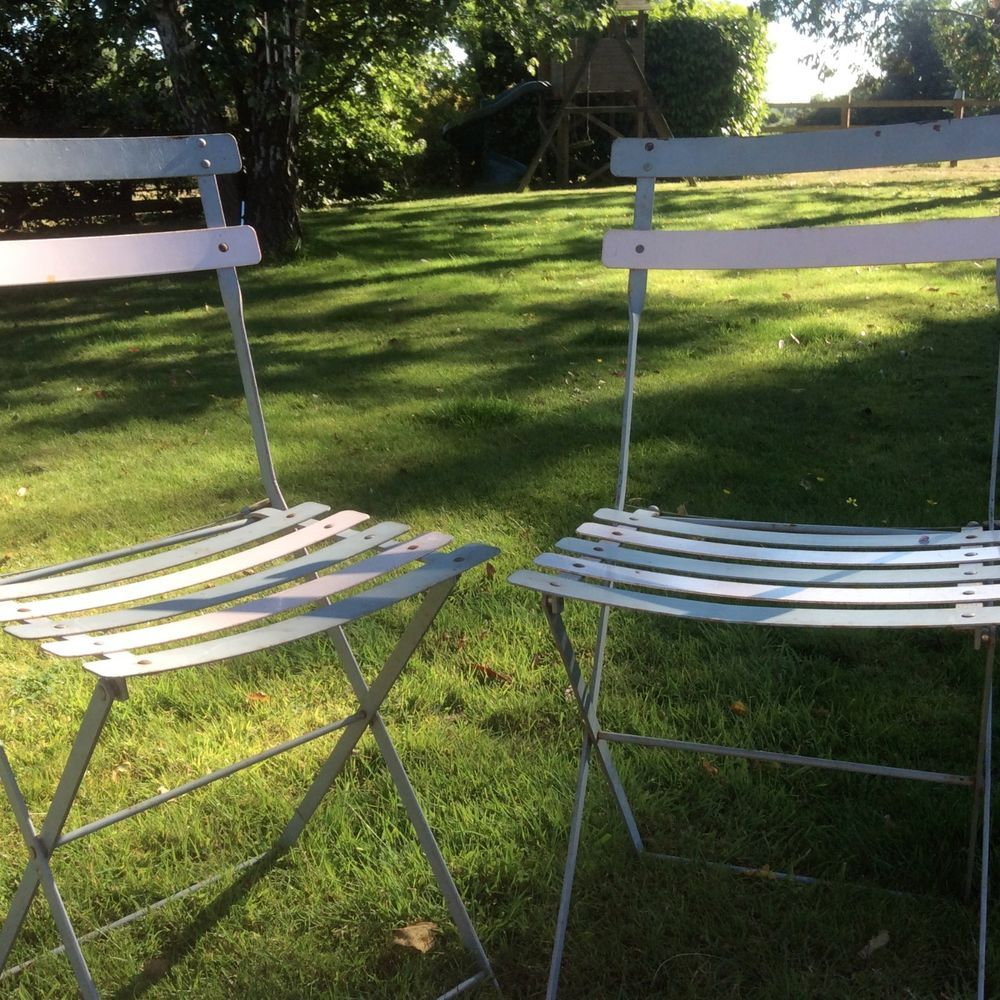 French shabby chic vintage folding metal bistro garden chairs two