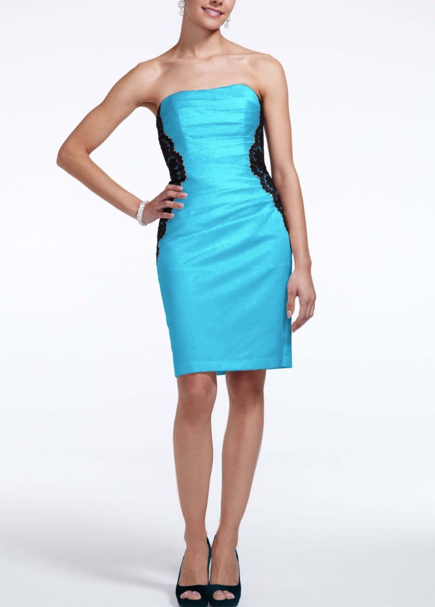 NEW! Short Strapless Satin Dress with Lace Bands Style F15629 ...
