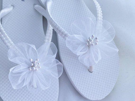 Bridal Flip Flops Wedding Flip Flops White by KayKaysBridal