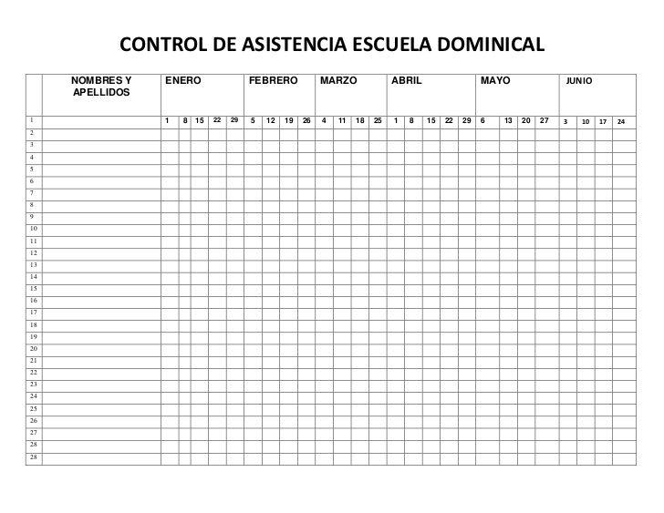 CONTROL DE ASISTENCIA ESCUELA DOMINICAL - Buscar con Google ...