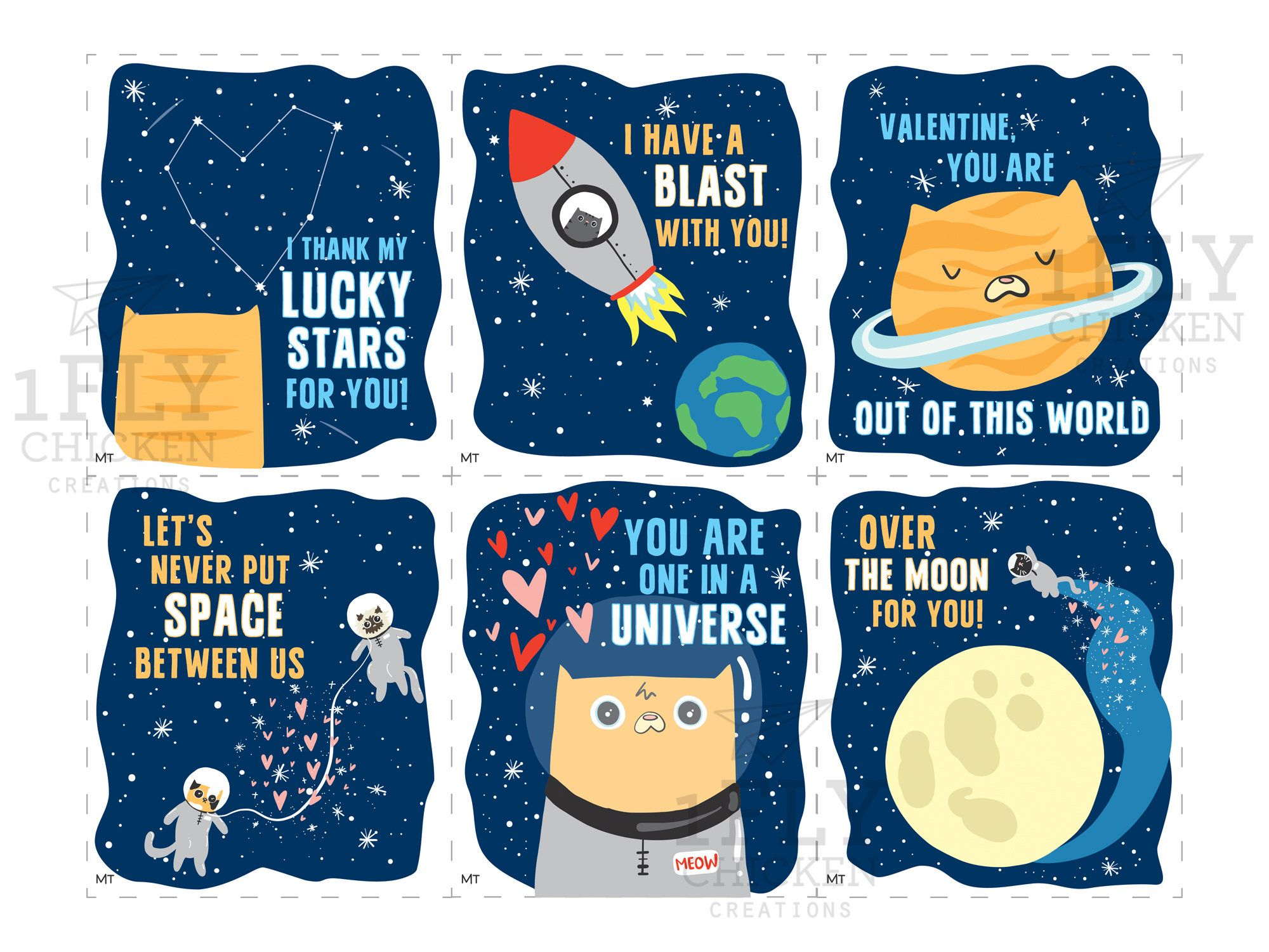 Cute Printable Space Cats Valentine S Day Cards Kids Cutout Diy