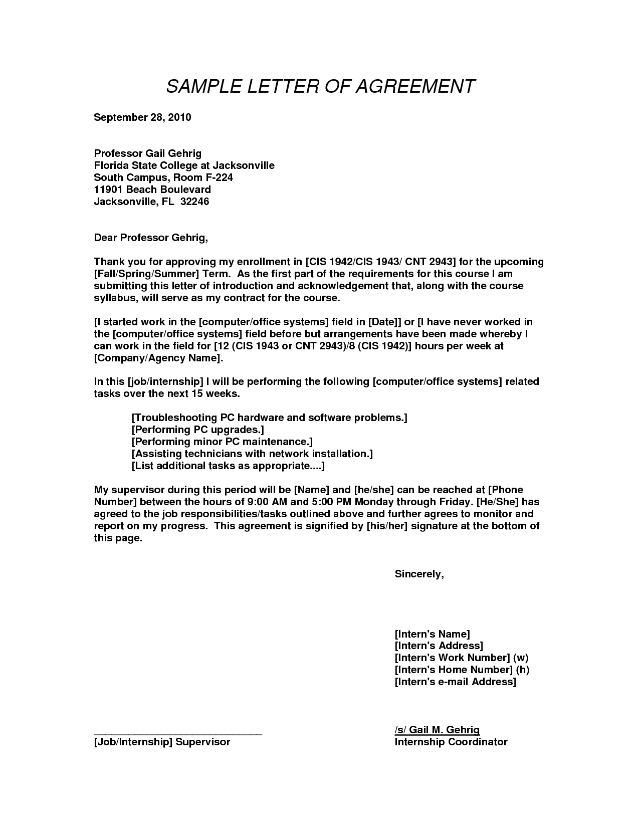 sample letter of agreement for services
