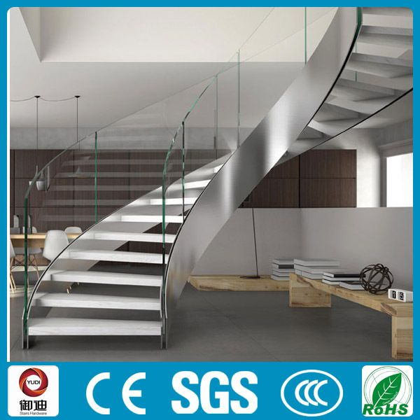 Best Stainless Steel Helical Staircase To Terrace Curved 640 x 480