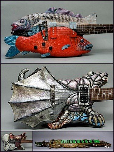 Weird guitars made by designed by Billy Rhinehart, he lives in Athens, Ohio, USA.