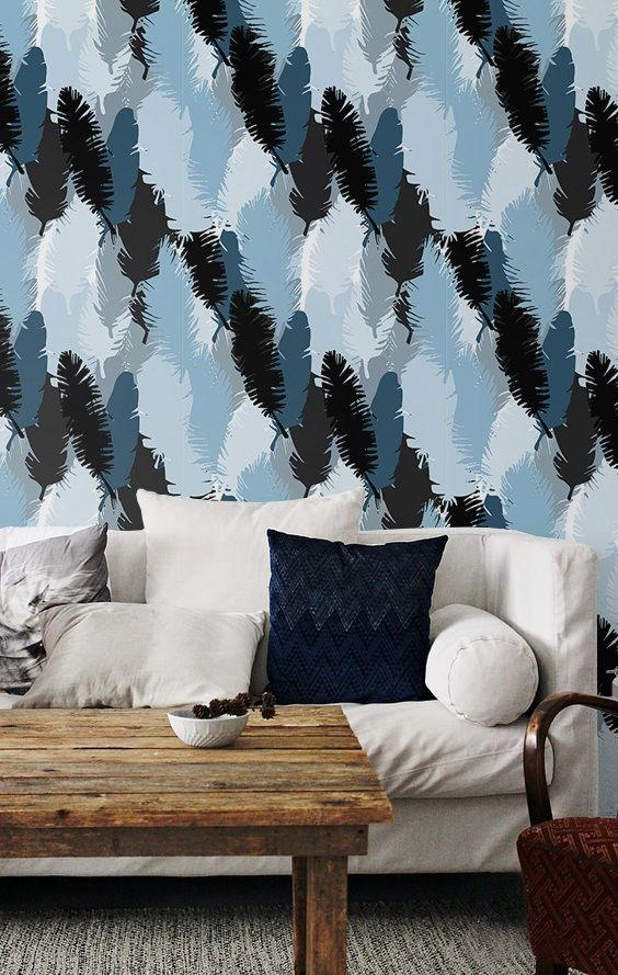 Feather wallpaper temporary wallpaper feather decal boho wall mural bw066