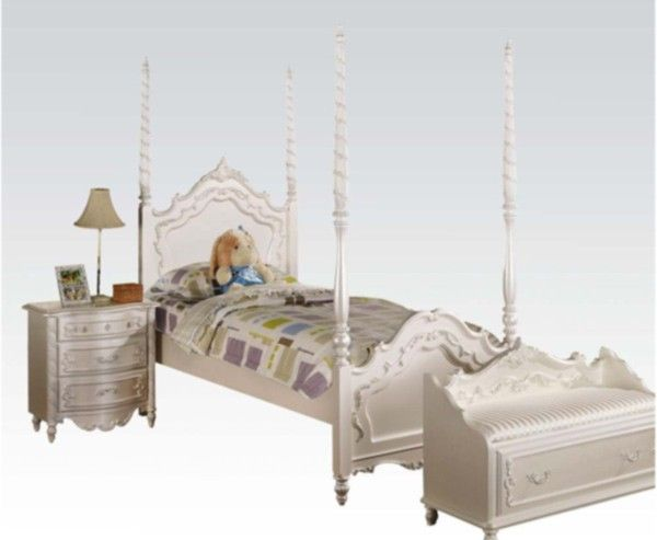 Acme Furniture - 3 Piece Bedroom Poster Full Size Canopy Bed Set in Pearl White - 00995F-3SET & Acme Furniture - 3 Piece Bedroom Poster Full Size Canopy Bed Set in ...
