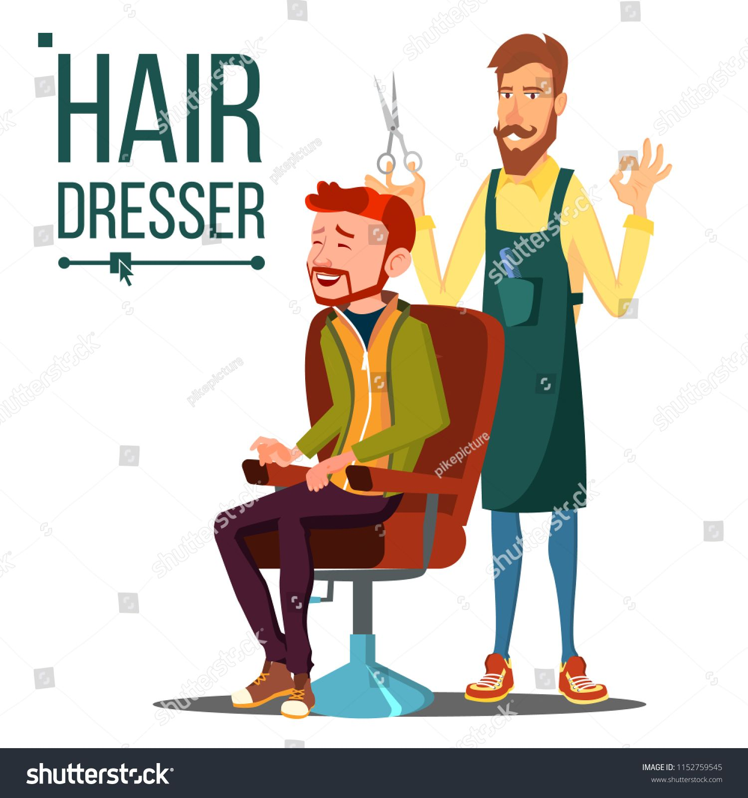 Hairdresser And Man Vector Barber Scissors Stylist Barber Hairdressers Salon Hair Clipper Isolated Flat Carto Hairdresser Salon Hairdresser Hair Clippers