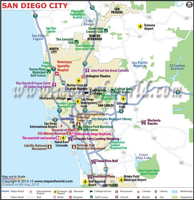 San Diego City Map, California | San diego city, San diego ...