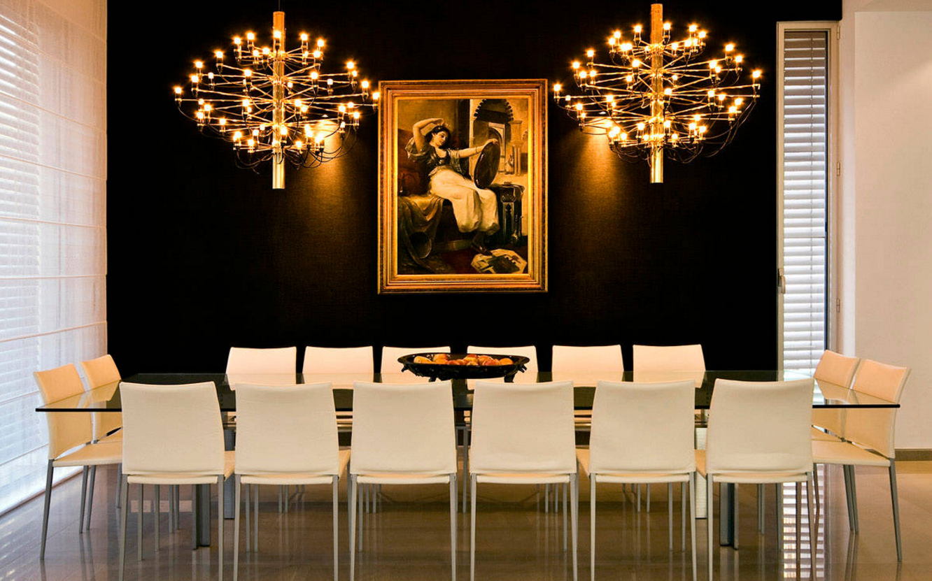 Classic Black White And Gold Interiors Modern Dining Room Gold