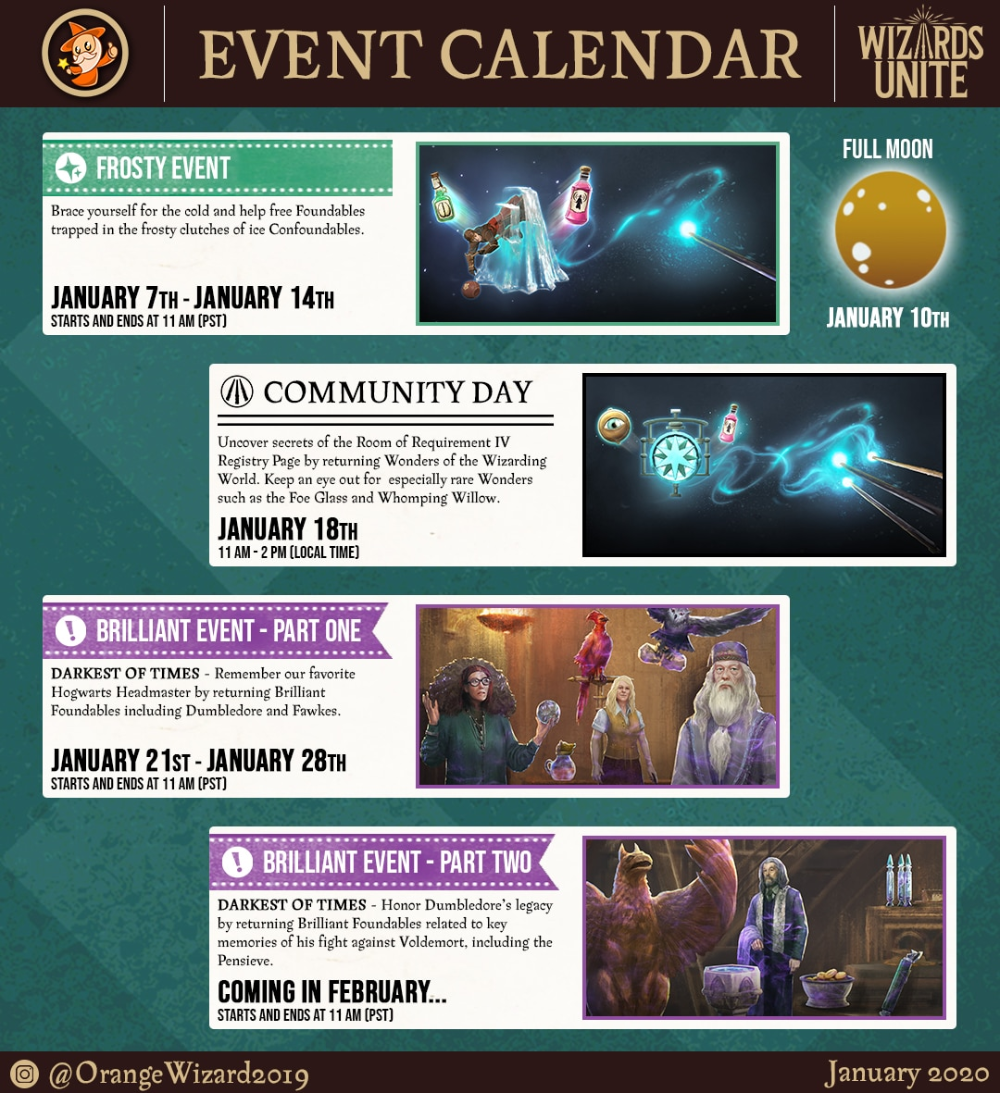 January 2020 Events In Harry Potter Wizards Unite Event Calendar Event January