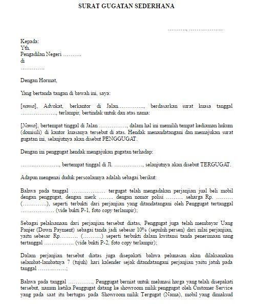 Download Contoh Format Surat Gugatan Sederhana Berbagai
