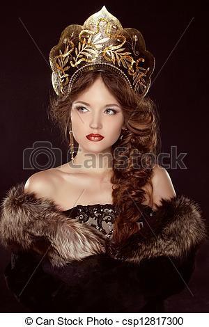 Russian Beauty. Attractive female wearing in kokoshnik. Woman s headdress  in old Russia - csp12817300 8f086d56094
