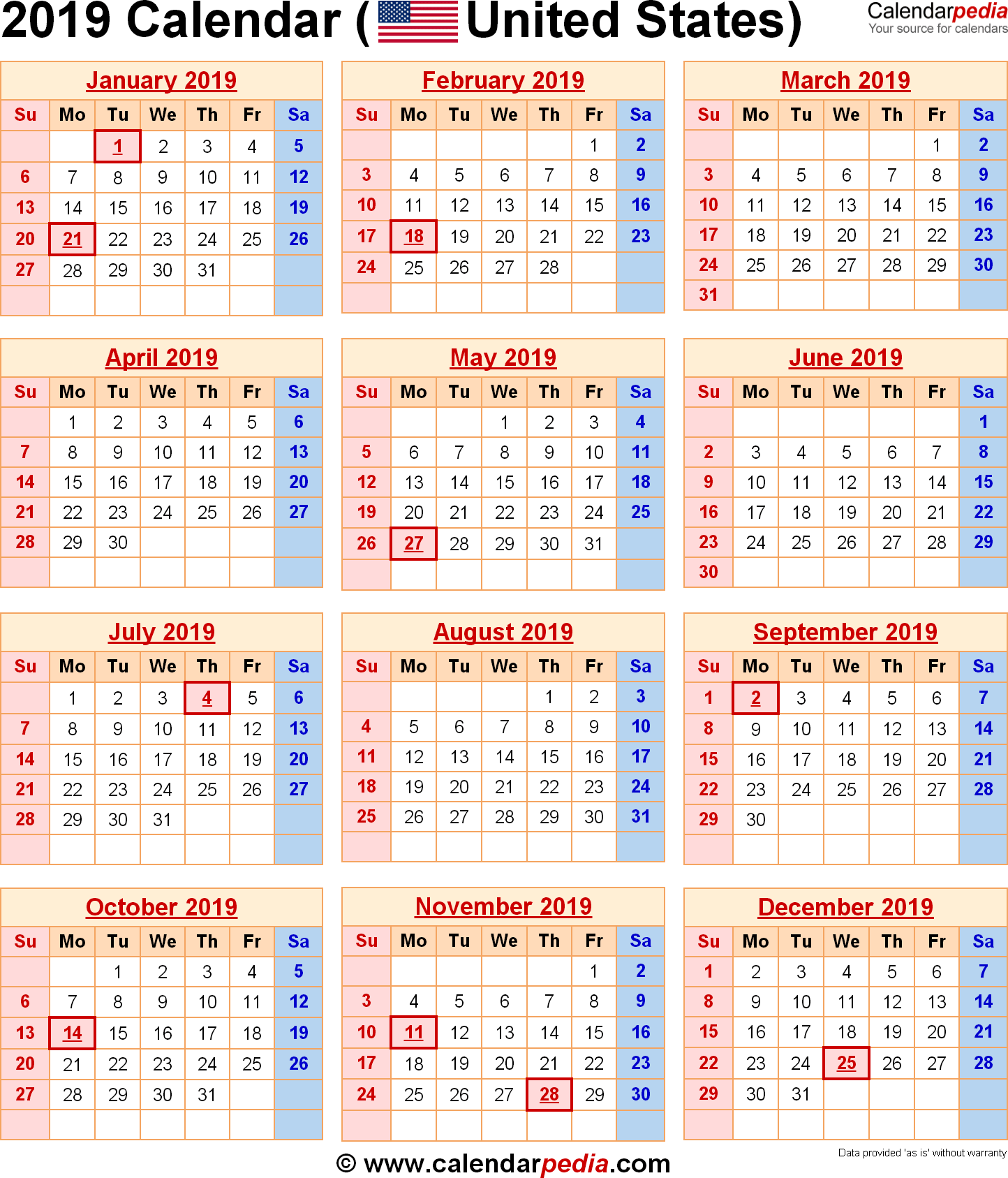 Year 2019 Calendar Usa In 2020 Holiday Calendar Printable Calendar Template Holiday Calendar