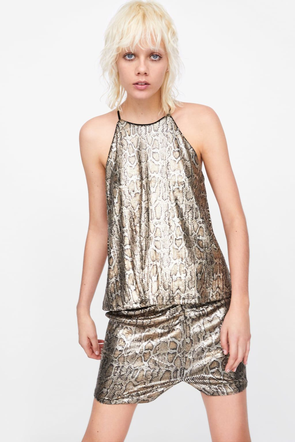 359f46878728d2 Image 2 of ANIMAL PRINT SEQUIN TOP from Zara
