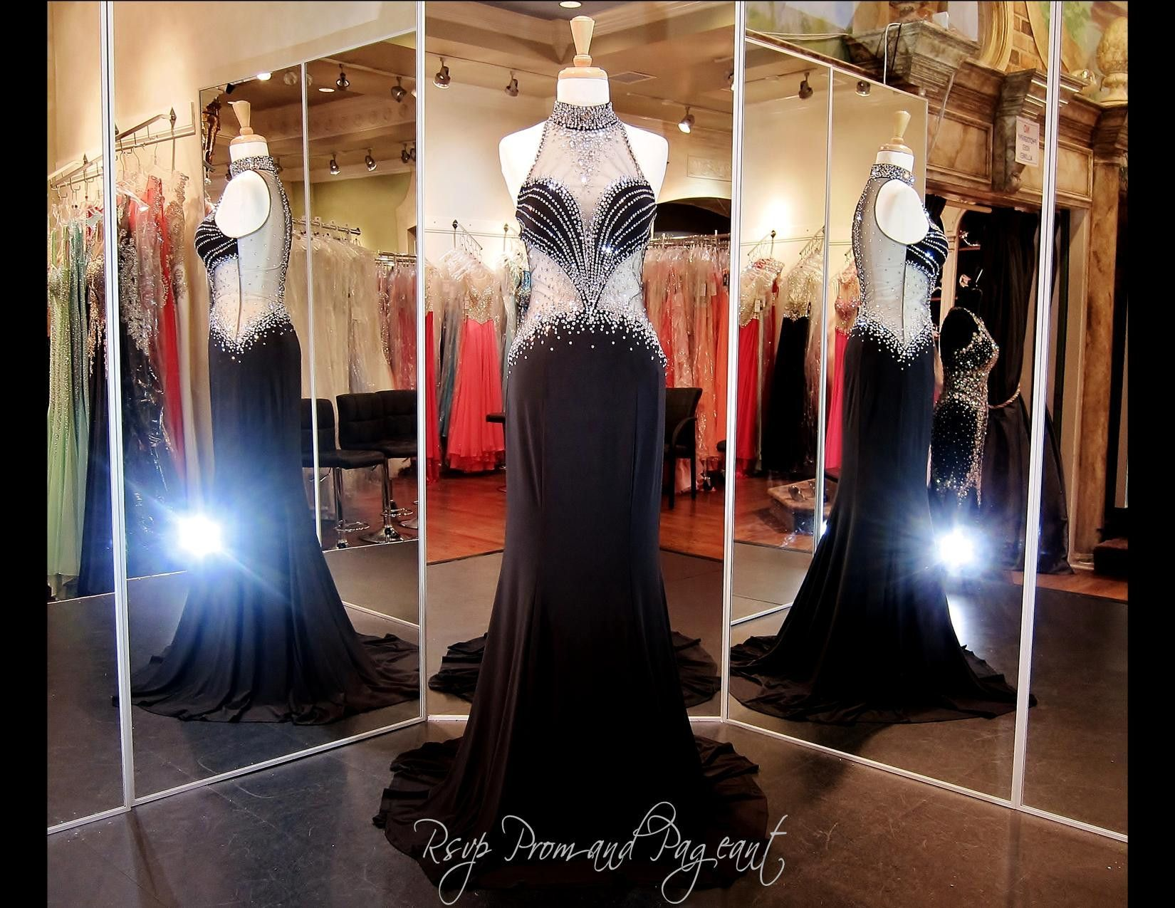 Black Jersey Prom Dress-High illusion neckline-Sweetheart Bodice-Low ...