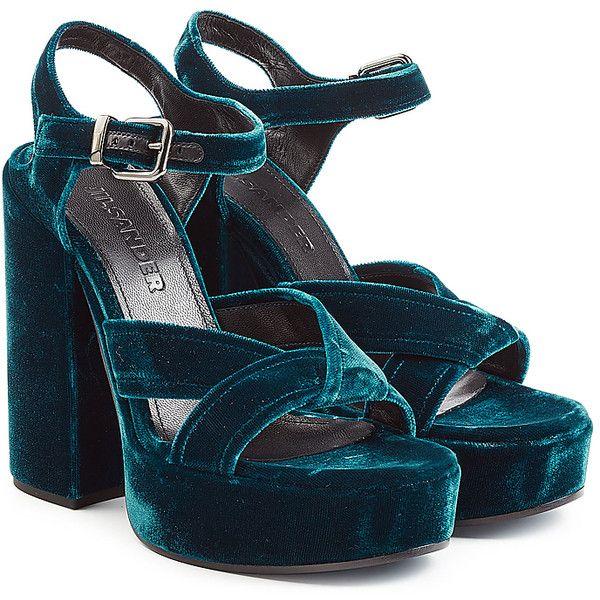 7dd1f9087e17 Jil Sander Velvet Platform Sandals (34.980 RUB) ❤ liked on Polyvore  featuring shoes