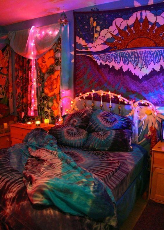Tie Dye Bedroom Inspiration Skydyed Hippie Bedrooms Living Room Decor