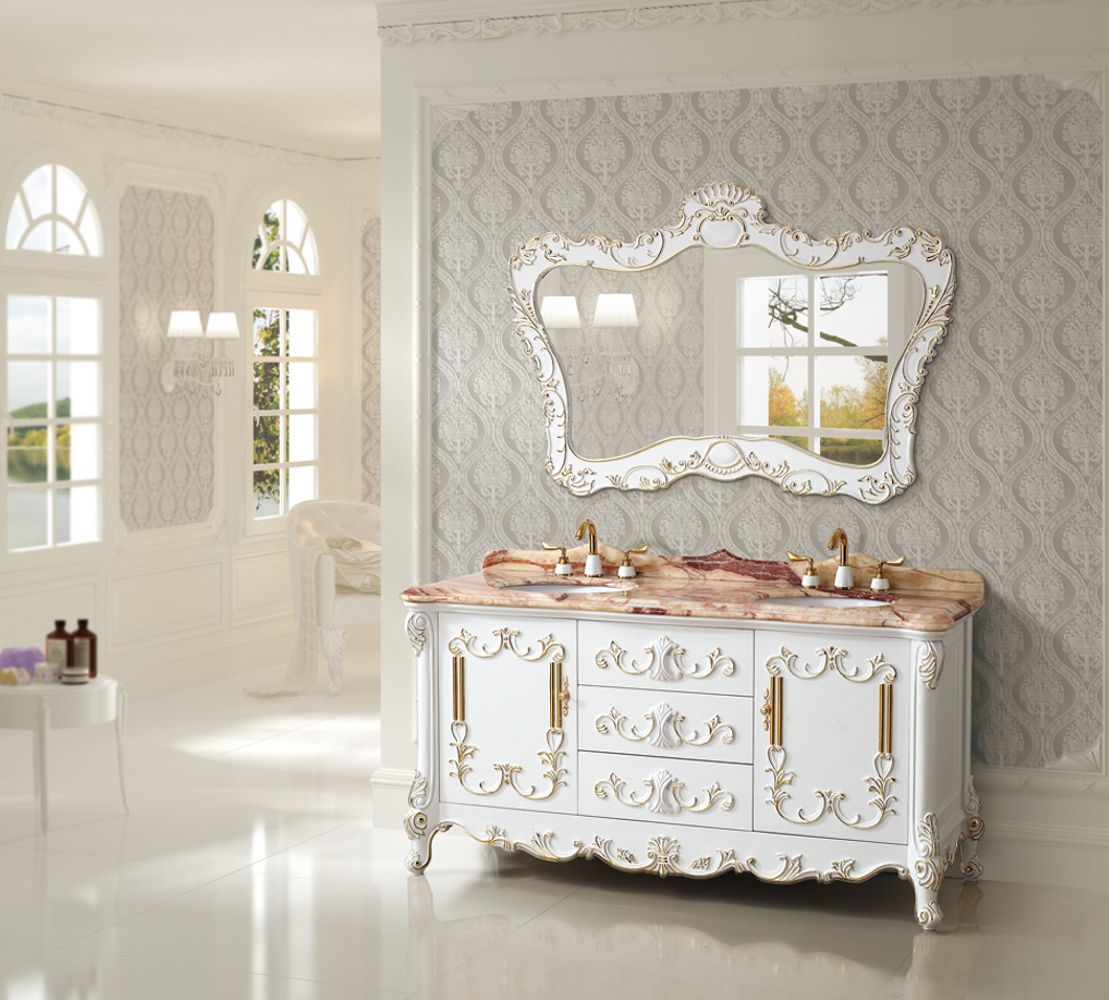 Art Antique 65 Inch Double Sink Bathroom Vanity Natural Marble Top