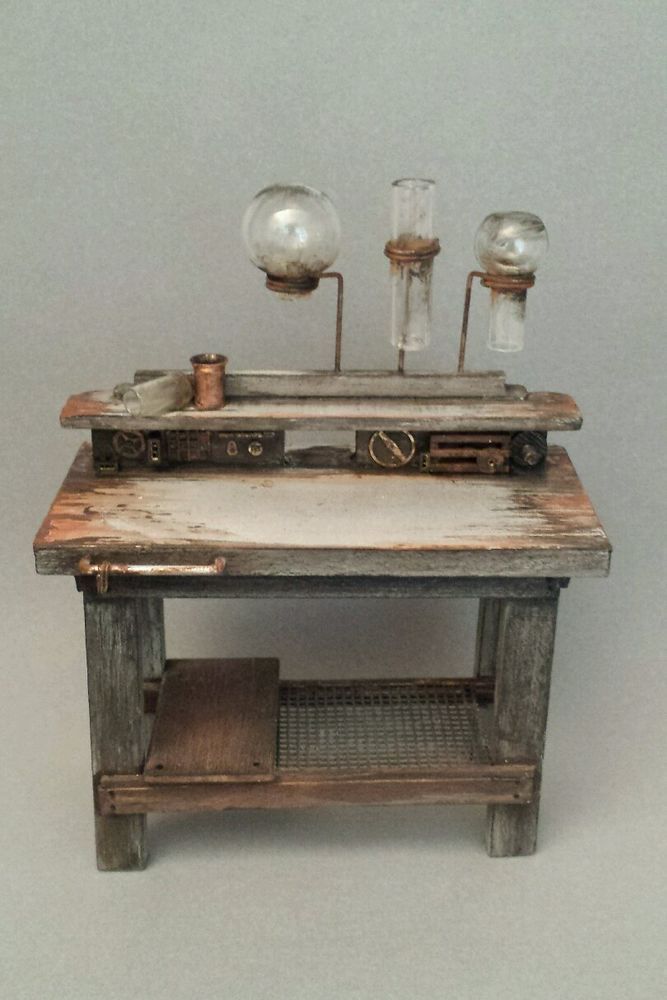 OOAK 1:12 Scale Dollhouse Miniature Grungy Science Lab Table