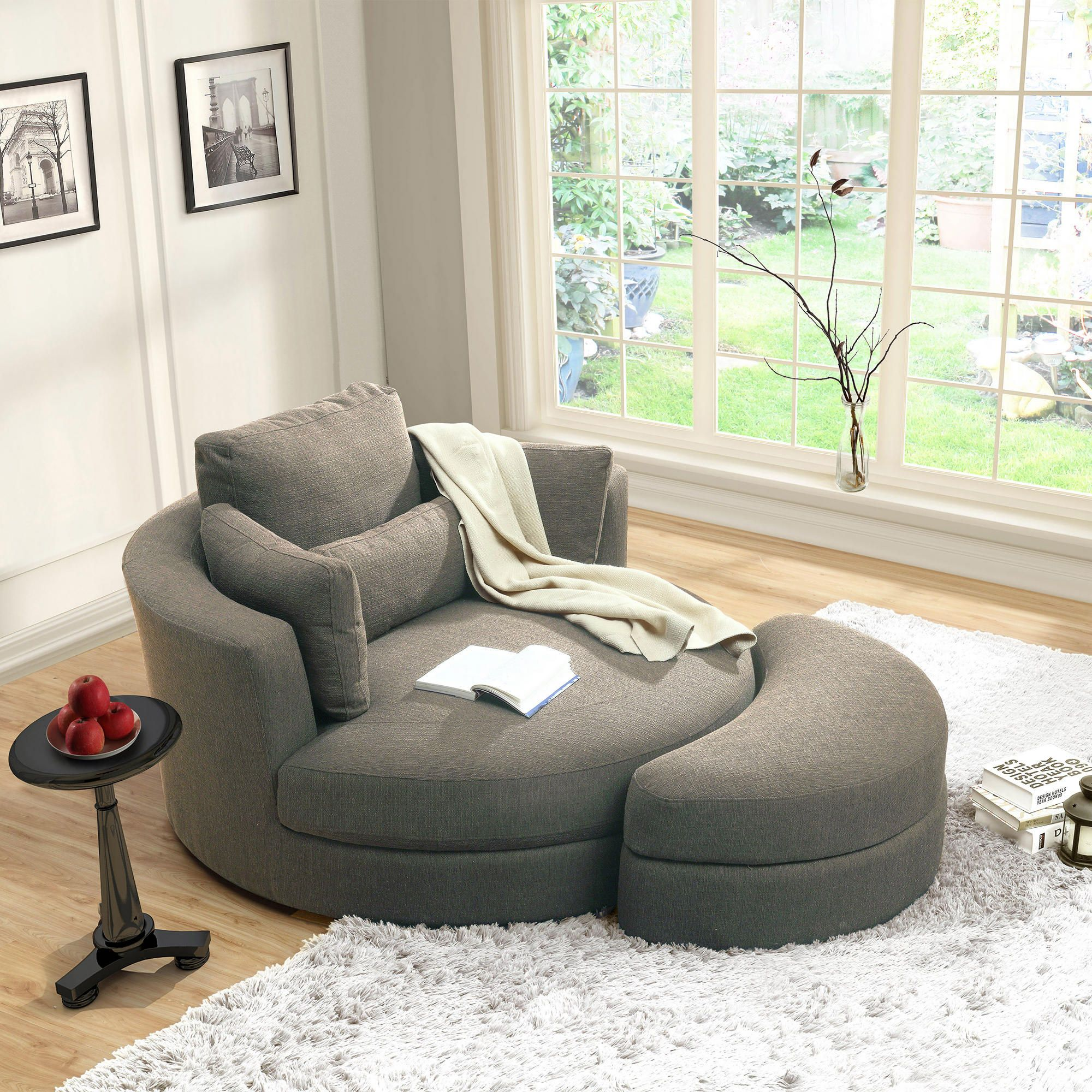 Turner Grey Cuddler Swivel Chair With Storage Ottoman