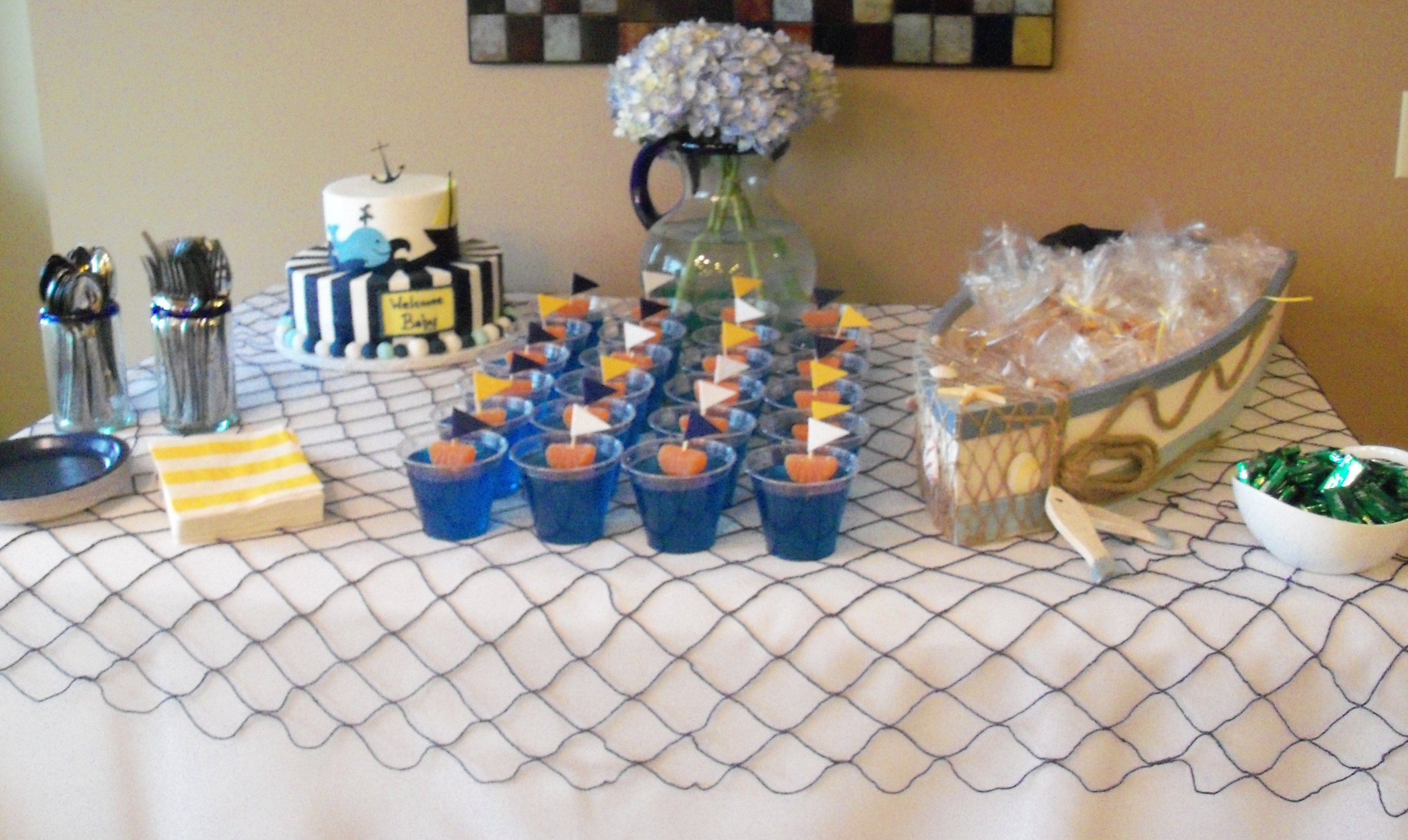 Nautical Baby Shower Cake and Snack Table