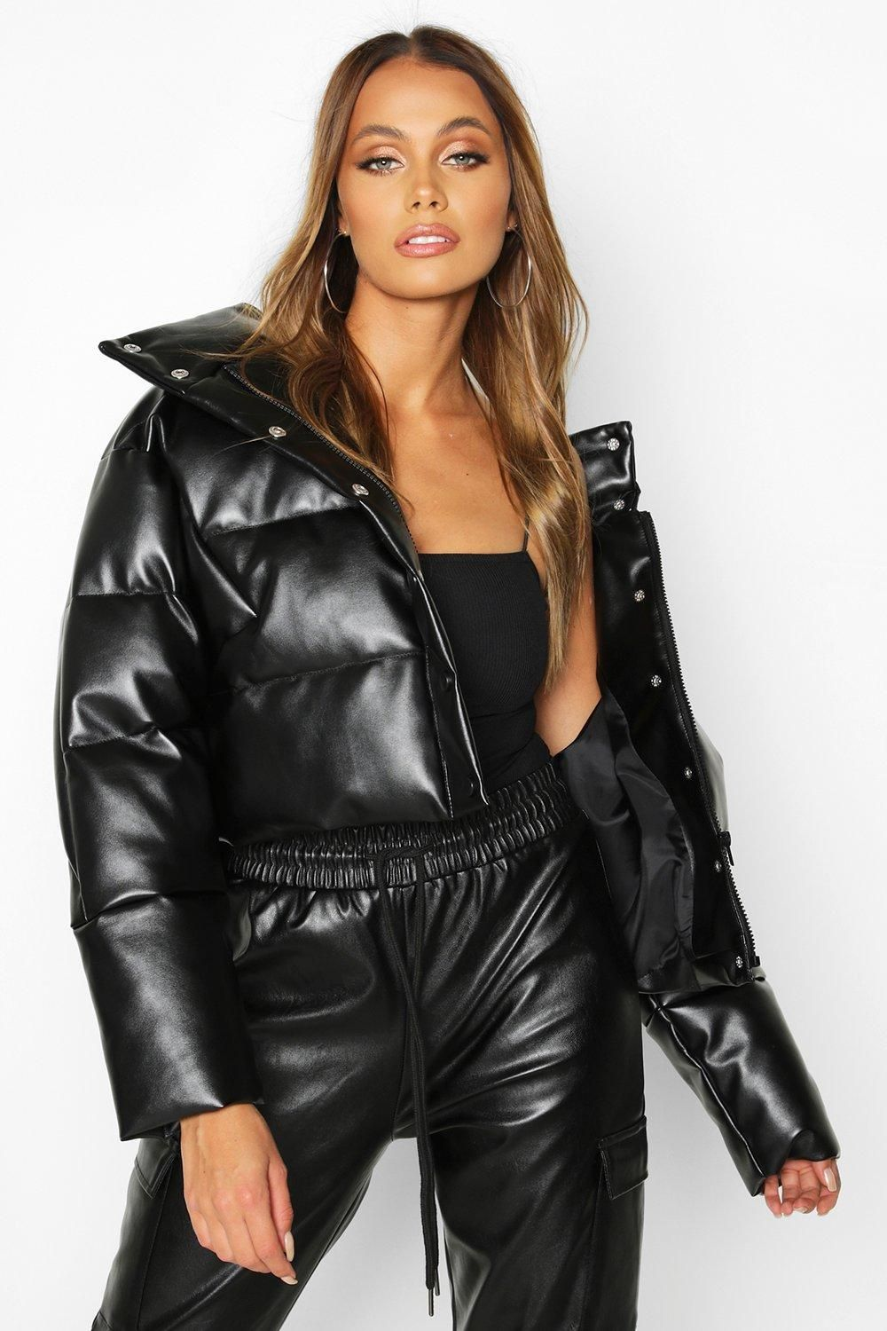 Faux Leather Puffer boohoo Leather jackets women