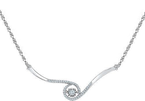 10k White Gold 1/5 ctw Diamond Fashion Necklace: