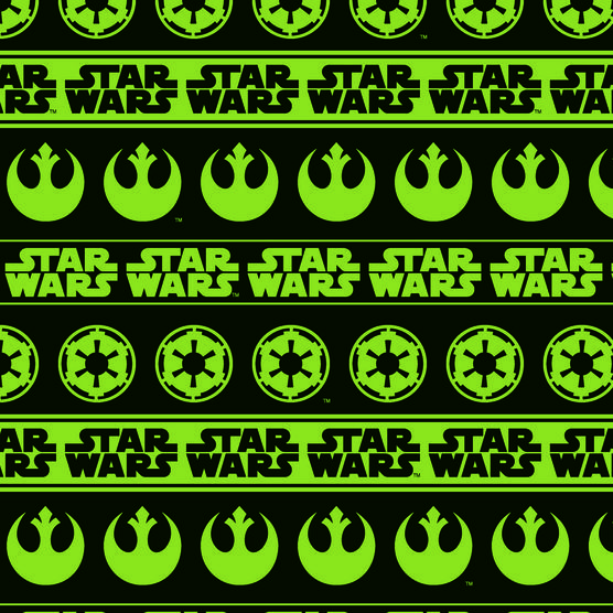 STAR WARS GREEN REBEL /& IMPERIAL LOGOS FABRIC