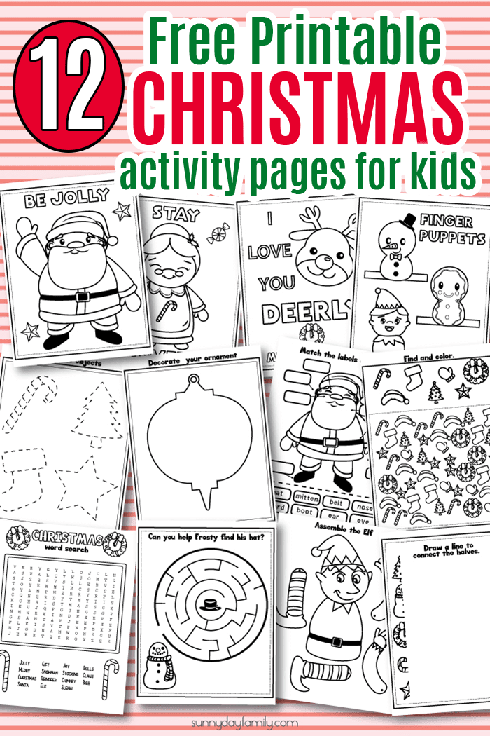 12 Free Printable Christmas Activity Pages For Kids In 2020 Christmas Kindergarten Christmas Learning Activities Christmas Worksheets