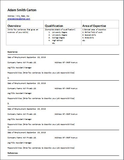 Employment History Form Template At Wordtemplatesbundle