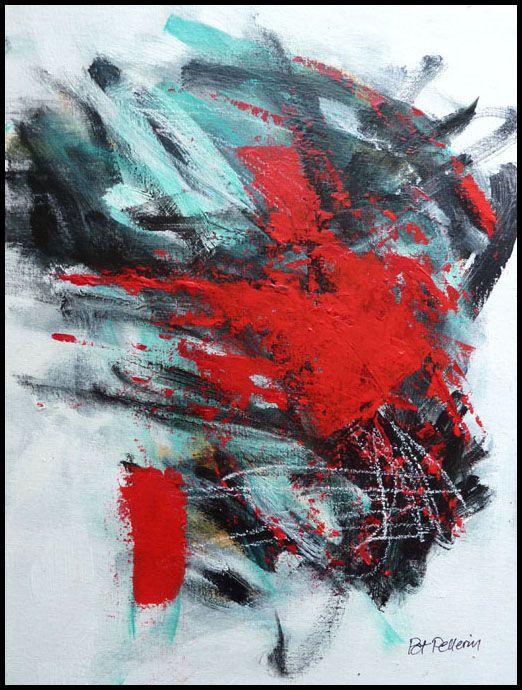 N°1445 Pat Pellerin. Acrylique et crayon gras sur carton toilé 30x40 cm.