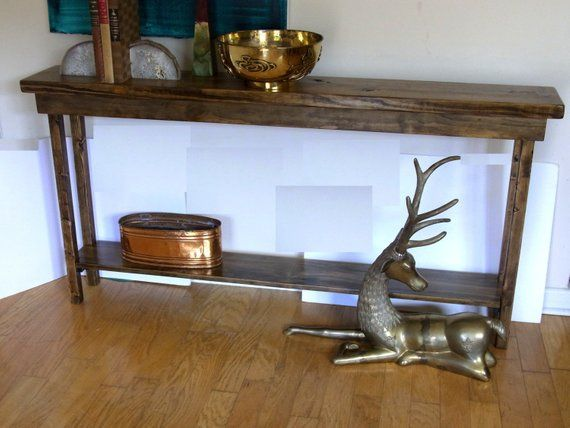 60 Inch Rustic Console Table Extra Narrow Sofa Table Entryway