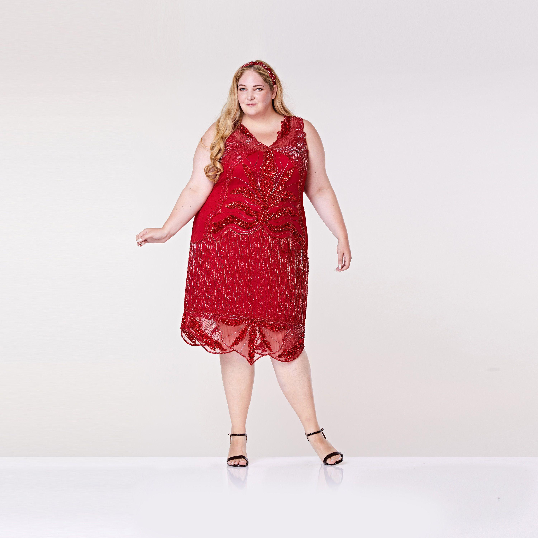 Plus Size Elsa Red Midi Length Flapper Dress with Slip 20s ...