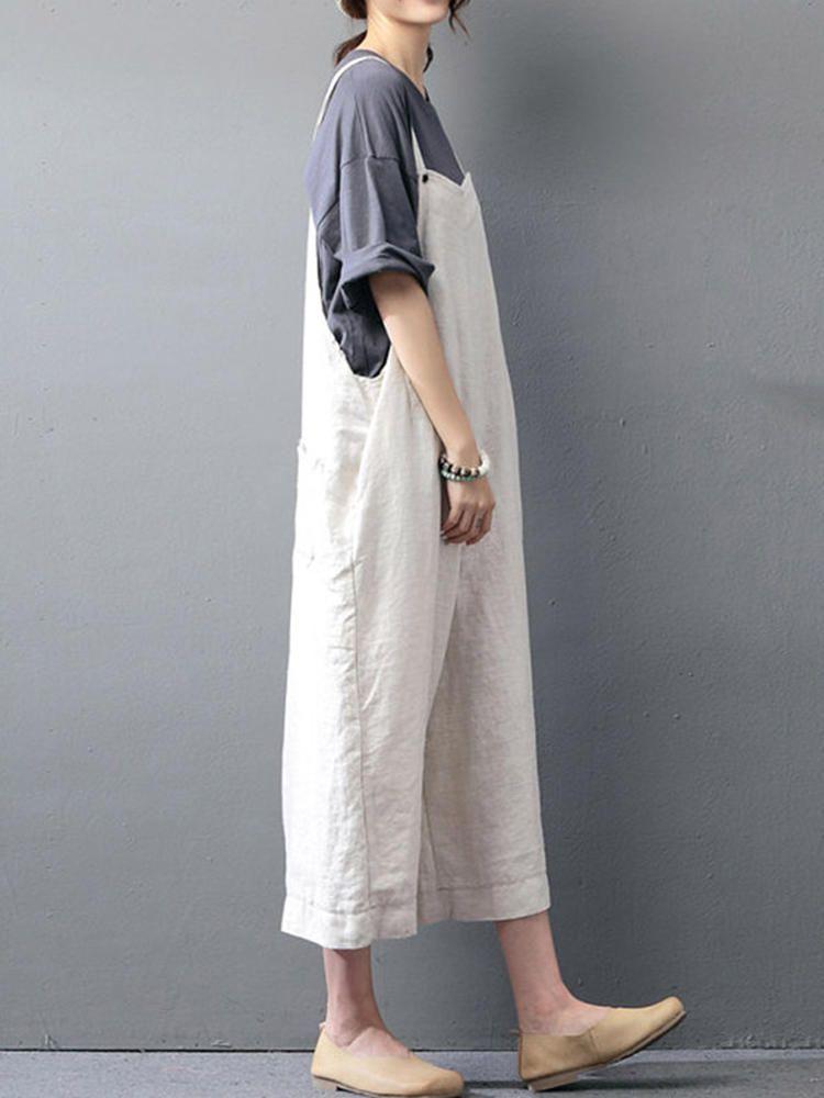 e116fe3fd21 M-5XL Women Solid Color Strap Jumpsuits at Banggood