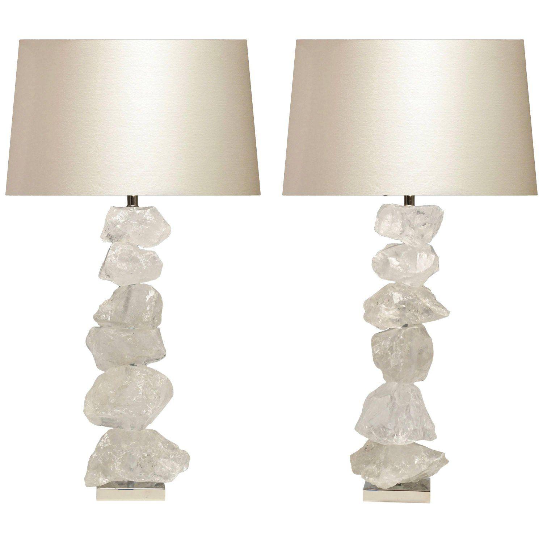 Pair Of Natural Form Rock Crystal Quartz Lamps In 2020 Quartz