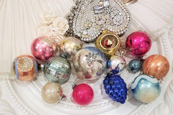 Beautiful Old Vintage Ornament Lot Glass Grapes Shabby 15 Vintage Christmas Vintage Christmas Ornaments Christmas Bulbs