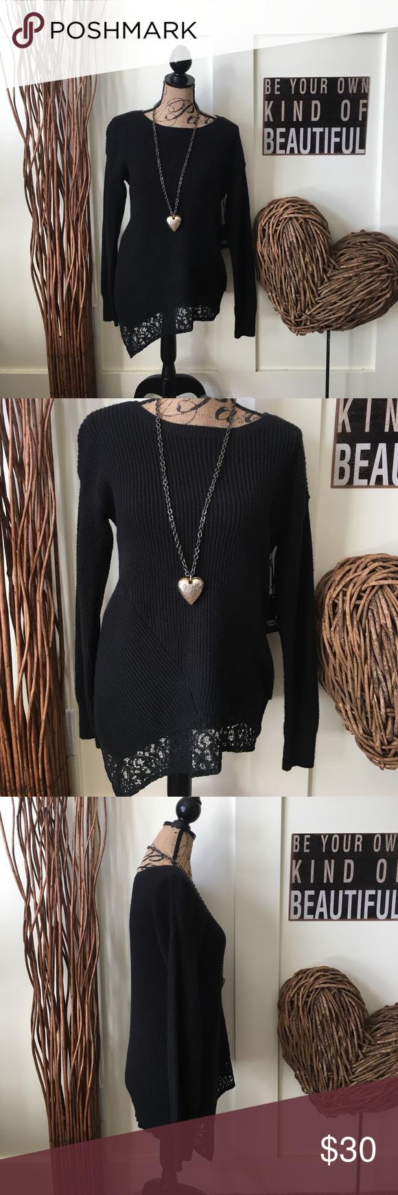 Simply Vera Vera Wang black lace hem sweater NWT | Simply vera ...
